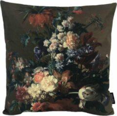 Donkergroene Gek op Kussens! Flower Bouquet #1 Kussenhoes | Katoen / Linnen | 45 x 45 cm | Bloemen