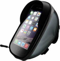 Antraciet-grijze Sinox SXS5100 Fiets stuurtas met telefoonhouder en opbergvak geschikt voor Smartphone o.a. Iphone, Samsung, Huawei - Universeel - XL - Zonnescherm - Touch control