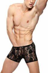 Bandi Das Sexy heren boxer / boxershort van kant met stretch Zwart - Kanten ondergoed maat S/M