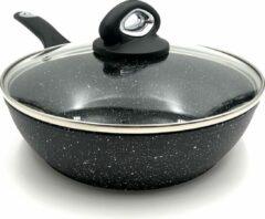 Zwarte Blackstone Sterk Koekenpan 24cm in Steen-look, Gegoten Aluminium, Anti-Aanbaklaag, Geschikt voor Alle Warmtebronnen, ook inductie