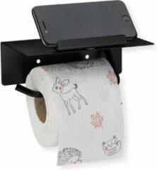 Relaxdays Toiletrolhouder met plankje - zelfklevend - wc-rolhouder zonder boren - zwart