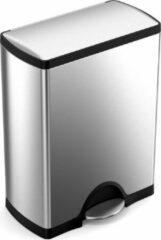 Zilveren Simplehuman Rectangular Deluxe 50 Liter Vingerafdrukvrij