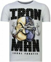 Witte T-shirt Korte Mouw Local Fanatic Iron Man Popeye - Rhinestone T-shirt