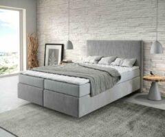 DELIFE Bed Dream-Well grijs 140x200 cm met matras en topper Boxspring-bed