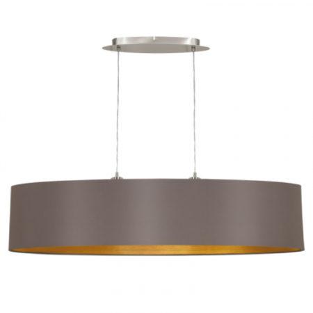Afbeelding van Grijze EGLO Maserlo - Hanglamp - 2 Lichts - Lengte 1000mm. - Nikkel-Mat - Cappucino, Goud