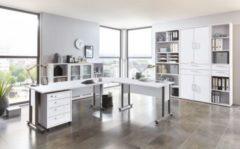 Büromöbel Set Brillant weiss mit Schreibtischwinkelkombination und Aktenschränken FMD aivlac