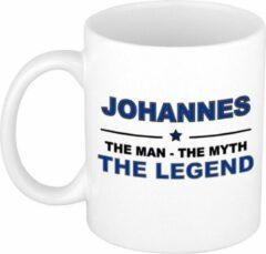Bellatio Decorations Naam cadeau Johannes - The man, The myth the legend koffie mok / beker 300 ml - naam/namen mokken - Cadeau voor o.a verjaardag/ vaderdag/ pensioen/ geslaagd/ bedankt