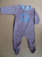 Wiplala pyjama velour, streep blauw orange 6maand 68