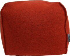 Particolare Poef Cooked wool oranje 376