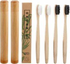 Btp Bamboe tandenborstels |Set Van 4 Tandenborstels Plus 2 Bamboe Kokers| Medium soft | Biologisch Afbreekbaar | 2 Wit - 2 Zwart|