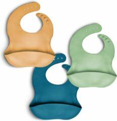 Gouden Telano® 3 stuks Slabbetje met Opvangbakje - Siliconen Slabber Baby Peuter - Verstelbaar en Waterproof - Okergeel - Mintgroen - Blauw