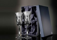 Transparante Glencairn Crystal Studio Set van 2 Exclusieve Glencairn Edinburgh Champagneglazen | Serie Skye | Kristal | Handgemaakt in Schotland | Geschenkverpakking