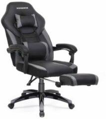 MIRA home Bureaustoel – Gamestoel – Modern – Synthetisch Leer – Zwart/Grijs – 83,8x65,7x35,6