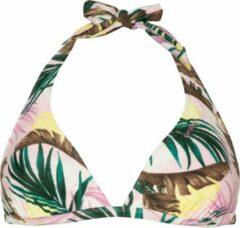 Protest halter bikinitop Jessie C-cup met all over print wit/groen/roze