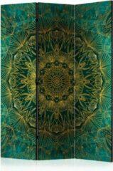 Groene Kamerscherm - Scheidingswand - Vouwscherm - Royal Stitching [Room Dividers] 135x172 - Artgeist Vouwscherm