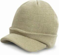 Result Trendy warme wintermuts met visor klep in het beige kaki voor volwassenen - Damesmutsen / herenmutsen - 100% polyacryl