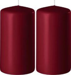 Enlightening Candles 2x Bordeauxrode cilinderkaarsen/stompkaarsen 6 x 15 cm 58 branduren - Geurloze kaarsen bordeauxrood - Woondecoraties