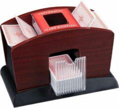 Relaxdays Kaartschudmachine elektrisch - 4 decks - kaartenschudder - kaartschudder hout