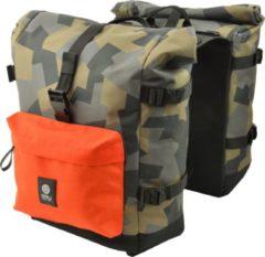AGU Urban Trend H20 Roll-Top Dubbel Fietstas Middenkaki/Assortiment Camouflage