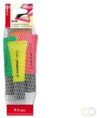 Stabilo markeerstiften Neon etui van 4 in geassorteerde kleuren