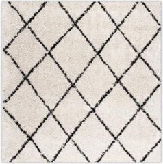 Creme witte Fraai Vierkant hoogpolig vloerkleed - Grand Lines Creme/Zwart 150x150cm