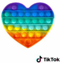 Merkloos / Sans marque Pop it Fidget Toy Regenboog- Bekend van TikTok - Hartje- Rainbow