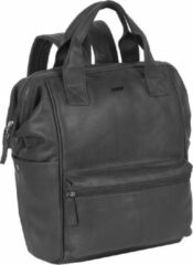 Zwarte Justified Bags Yara City Lederen Backpack / Rugtas Black