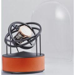 Bernard Favre Planet Black&Orange leather watch winder