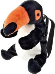 Zwarte Merkloos / Sans marque Pluche toekan vogel rugtas/rugzak knuffel 32 cm - Toekan vogels knuffels - Speelgoed voor kinderen