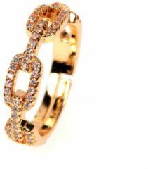 Fashion Jewelry Chain met steentjes ring | goud gekleurd