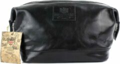 Zwarte The British Bags Company Toilettas Oakham Black Leather