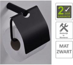 Boss & Wessing BWS Toiletrolhouder Mia Met Klep Mat Zwart