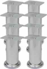 Zilveren VidaXL Bankpoten rond 8 st 120 mm chroom