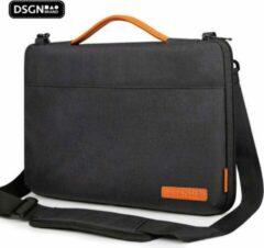 Oranje DSGN Laptop Schoudertas Sleeve met Handvat 14 inch - Zwart - Laptoptas- Laptophoes - Laptop & MacBook - Waterdicht - Extra Vak - Duurzaam - Polyester