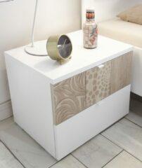 Pesaro Mobilia Nachtkastje Perez 42 cm hoog in mat wit met sonoma eiken