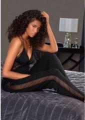 Zwarte LASCANA Pyjamabroek, met zijstrepen van transparant kant