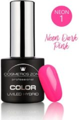 Roze Cosmetics Zone UV/LED Hybrid Gel Nagellak 7ml. Neon Dark Pink N1