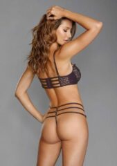 Paarse Dreamgirl (All) Venise Embroidery Bra & G-String Set - Eggplant - L - Lingerie For Her - 2 Pcs Set