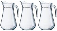 Transparante Shoppartners 3x Schenkkan 1 liter 20 cm - Sapkannen/waterkannen/schenkkannen/limonadekannen van glas
