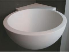 Hoekfontein Luca Sanitair Rond 28x28x12cm Solid Surface Mat Wit (met voorbewerkt kraangat)
