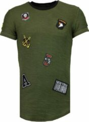 Blauwe Justing Exclusief Military Patches - T-Shirt - Groen Exclusief Military Patches - T-Shirt - Bordeaux Heren T-shirt Maat M