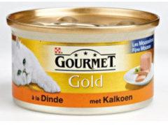 Gourmet Gold Mousse Kalkoen kattenvoer 1 tray (24 blikken)