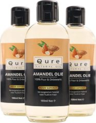 Qure Natural Oil Amandelolie | 100% Puur & Onbewerkt (100ml) | Koudgeperste Zoete Amandel Olie voor Haar, Gezicht en Lichaam