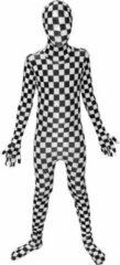 Witte Morphsuits™ Kids Bw Check - SecondSkin - Verkleedkleding - 120/138