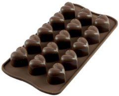 "Bruine Silikomart Siliconen chocoladevorm hart ""Mon amour"""