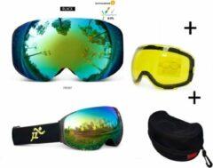 Improducts Skibril - EXTRA magnetische lens groen black frame Zwart AX type 3 Cat. 0 tot 4 - ☀/☁