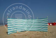 Strandwindschermen.nl Strand Windscherm 5 meter dralon turquoise /wit met houten stokken