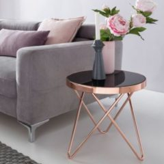 Wohnling Design Beistelltisch Dreibein Metall Glas 42 cm Schwarz / Kupfer Wohnzimmertisch verspiegelt Couchtisch modern Glastisch Kaffeetisch rund