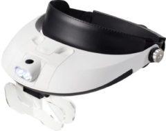 TOOLCRAFT TO-5137806 Hoofdbandloep Met LED-verlichting Vergrotingsfactor: 1.0 x, 1.5 x, 2.0 x, 2.5 x, 3.5 x Lensgrootte: (l x b) 107 mm x 48 mm Wit, Zwart