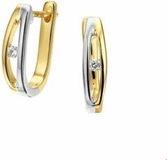 Zilveren Huiscollectie TFT oorringen Diamant 0.045ct (2x0.0225ct) H SI Bicolor Goud Glanzend